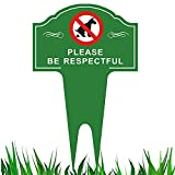Gbateri No Pooping Dog Sign with Stake - Sign Politely Reads:Please Be Respectful - Stop Dogs from Pooping or Peeing On Your Lawn Yard Sign,Weatherproof-15 x 9.5' No Poop Dog Aluminum Yard Sign Green