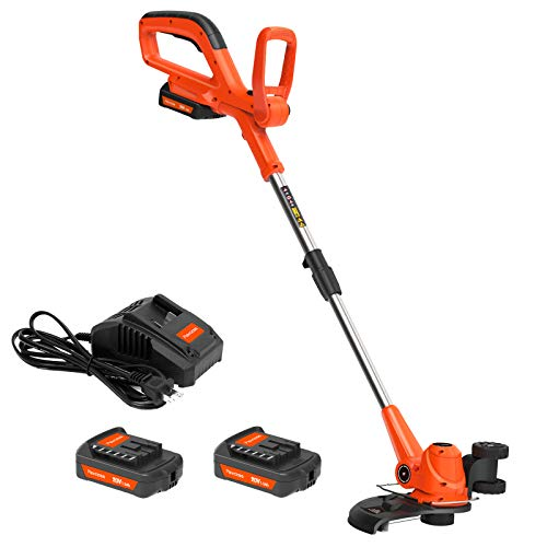 PAXCESS String Trimmer, 20V 10-Inch Cordless String Trimmer/Edger, 2PCS 1.50Ah Battery and One...