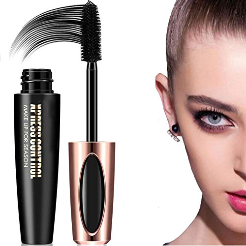 4D Silk Fiber Lash Mascara Waterproof, Long Lasting Eyelash Mascara, Silicone Brush Head, Smudge-Proof, Black (Color 1)