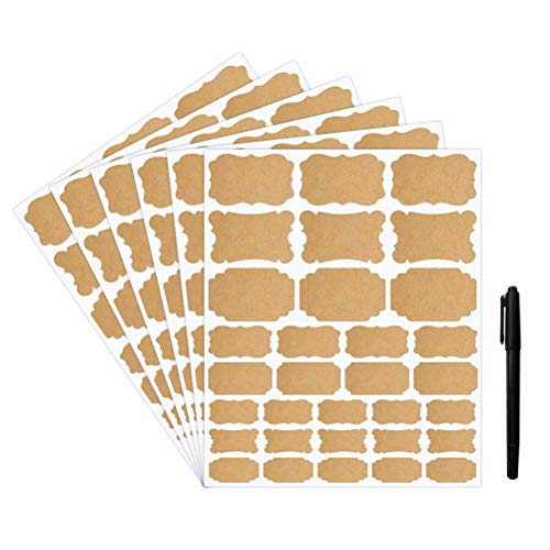 Choumia Kraft Labels Stickers 192 Self-Adhesive Removable Jars Labels with Permanent Black Marker, Assorted Sizes and Shapes to Decorate Handmade Gifts Kitchen Pantry Jars Bottles Containers