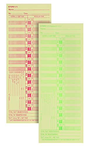 "TOPS Time Cards, Bi-Weekly, 2-Sided, Numbered Days, 3-1/2"" x 9"", Manila, Green/Red Print, 500-Count (1275)"