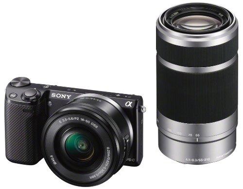 Sony NEX-5RYB Kompakte Systemkamera (16,1 Megapixel, 7,6 cm (3 Zoll) Touchscreen, Full HD, Kontrast AF, WiFi) inkl. SEL-P1650 und SEL-55210 Zoom-Objektiv schw