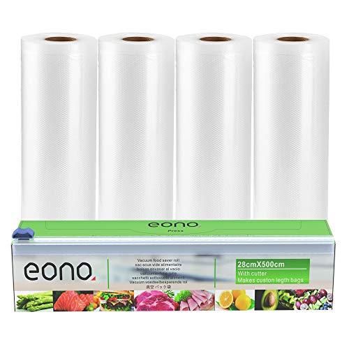 Amazon Brand - Eono Sacchetti Sottovuoto Rotoli per Alimenti - per Macchina Sottovuoto, Conservazione Alimenti, BPA Liberi - 28cm x 5m, 4-Pacchetto, 1-Scatola Taglierina