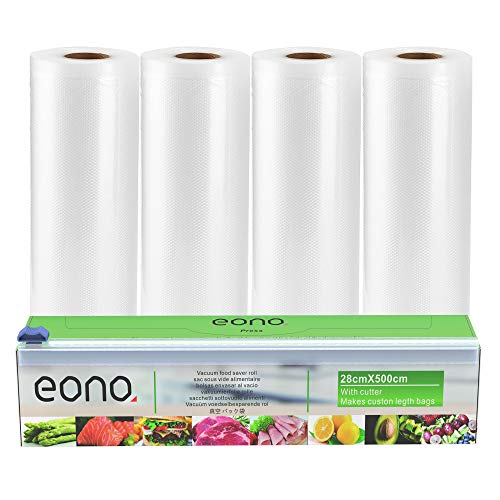 Amazon Brand - Eono Bolsas de Vacio Alimentos Rollo de Envasado - para Conservacion de Alimentos y Sous Vide Cocina, BPA Free - 28x500cm, 4-Rolls, 1-Caja de Corte