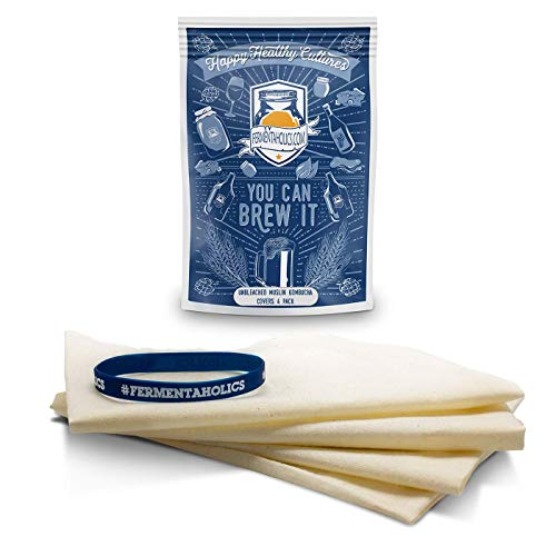 Unbleached Muslin Kombucha Covers - 4 Pack with Rubber Bands - 10' Square Fits Wide Variety Of Jar Openings - Tight Weave Keeps Flies Out - Let's Your Kombucha Breathe - Hand Wash