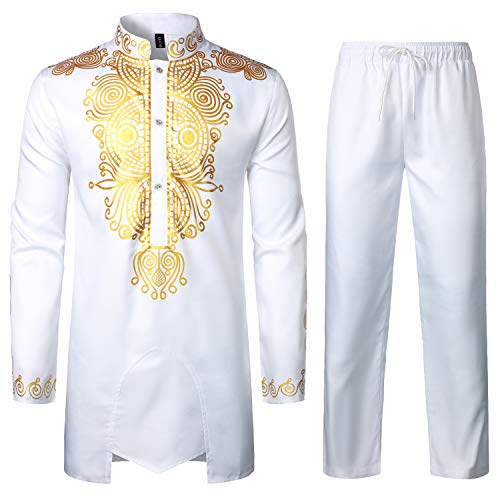 LucMatton Men's African 2 Piece Set Long Sleeve Gold Print Dashiki and Pants Outfit Traditional Suit White Small