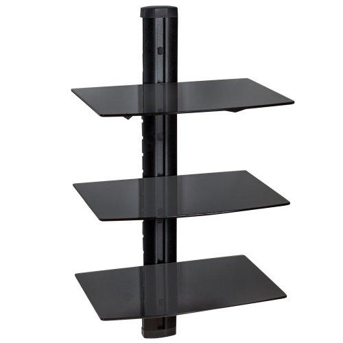 TecTake Supporto con fissaggio a parete per lettori DVD e ricevitori - modelli differenti - (3 mensole Nero | 401103)