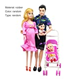 Tree-on-Life 5 Personnes poupées Costume Enceinte poupée Famille Maman + Papa + bébé Fils + 2 Enfants + Landau Cadeau Jouets Enfants Jouets Enfants Jouets