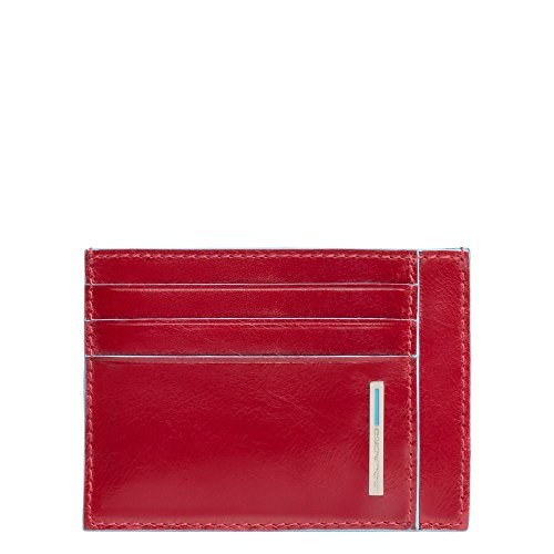Piquadro Blue Square Porta Carte di Credito con 6 Alloggiamenti per Carte di Credito, 11 cm, 0.27 litri, Rosso
