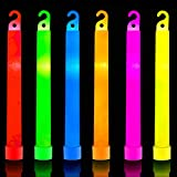 32 Ultra Bright 6 Inch Large Glow Sticks - Chem Light Sticks with 12 Hour Duration - Camping Glow Sticks - Glowsticks for Parties and Kids (Colorful)