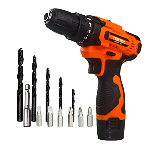 Cordless Drill Driver 12V Electric Combi Drill 23Nm Max Torque with 1500mAh Li-Ion Battery Fast Charger Screwdriver Drill Set
