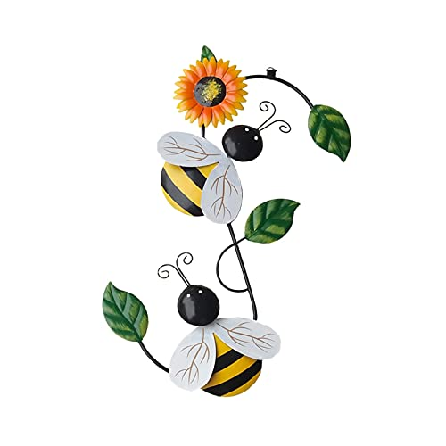 Decoración colgante de abeja mariquita, adorno de pared de metal, decoración de insectos para colgar en la pared, jardín, patio, balcón