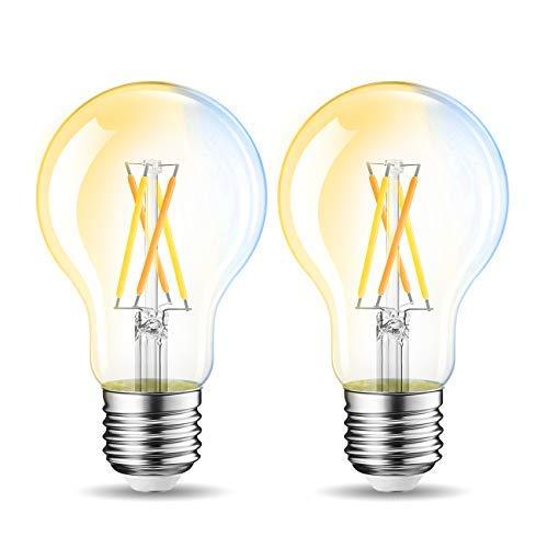 LVWIT Bombillas Inteligente LED A60 Filamento WiFi Regulable 6.5W 806 LM, Lámpara E27 Bombilla Funciona con Alexa, Google Home Assistant y App Smart Life/Tuya,Equivalente a 60W, 2 Pcs.