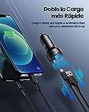 INIU Cargador de coche, 66W 6A carga rapida con 2 puertos USB C USB A PD & QC Cargador de automóvil rápido para iPhone 13/13 Pro/12 Pro Max Mini 11 XR 8 Samsung S21 Note 10 Pixel iPad AirPods Switch.