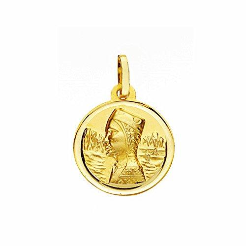 Medalla Oro 18K Virgen Montserrat 16mm. Lisa Bisel [Aa2570Gr] - Personalizable - Grabación Incluida En El Precio