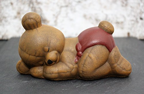 Steinfigur Teddybär schlafend - Hellbraun, Kindergrab Deko Figur Stein Frostsicher