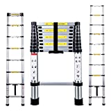 Telescopic Ladder 2.9M Jason Multi-Purpose Aluminium Telescoping Ladder Extendable Portable Loft Ladder Foldable Ladder with EN131 and CE Standard (9.5FT/2.9M)