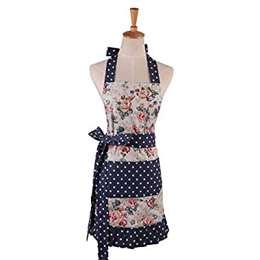 Surblue Pure Durable Cotton Women Flirty Skirt Apron with Deep Front Pockets, Water-Proof and Oil-Proof Adjustable Bib Kitchen Apron (Camellia Blossom, one Szie)