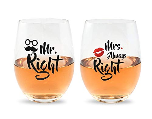 Mr Right and Mrs Always Right Wine Glasses Gift Set