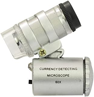 Inditradition 60X Zoom Pocket Microscope Magnifier | for Currency, Jewellery, with LED & UV Light (Grey)