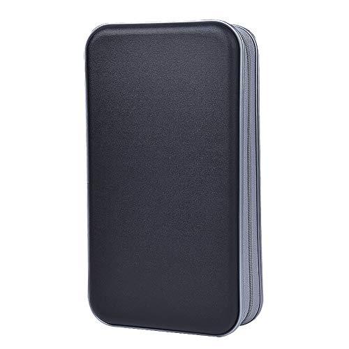 Estuche de CD, Alachi EU 96 Capacidad de plástico Duro Cremallera de Viaje Estuche de Billetera de Almacenamiento de CD (96 Capacidad, Negro)