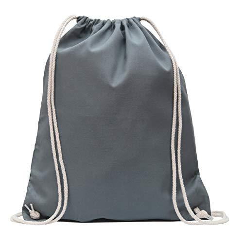 MyShirt Baumwoll Turnbeutel 38 x 46cm unbedruckt mit Kordelzug - 19 Farben - Jutebeutel Oeko-TEX® geprüft Gym Sack zum bemalen, Farbe:stahlgrau