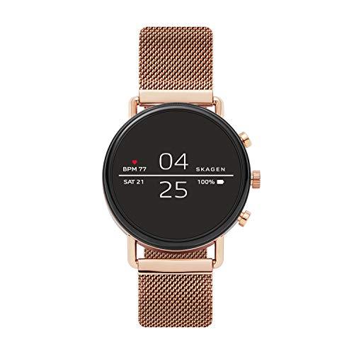 Skagen Connected Falster 2 Stainless Steel Magnetic Mesh Touchscreen Smartwatch, Color: Rose Gold (Model: SKT5103)