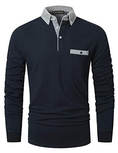 GHYUGR Polo Uomo Manica Lunga Casual Collare Contrasto con Tasca Basic Camicie Tops,Marina,XL