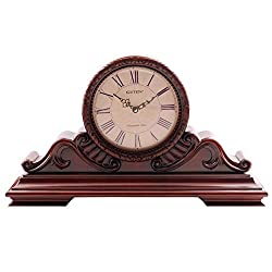 GUOLINGHUI Retro Music Music Clock Hourly Music Report Time Battery Power Time Precise Fireplace Clock Desktop Decoration Table Clock Easy to Operate (Color : Red)