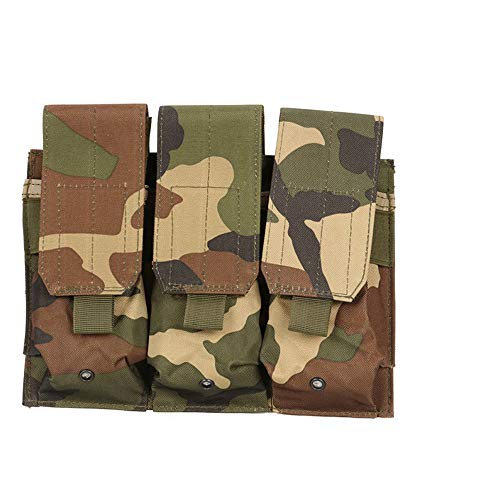 Outdoor Sports Airsoft Gear Molle Assault Combat Bag Vest Accessory Camouflage Pack Fast Cartridges Clip Ammunition Carrier Ammo Holder Tactical Mag AK M4 5.56/.223 Triple Magazine Pouch - Woodland