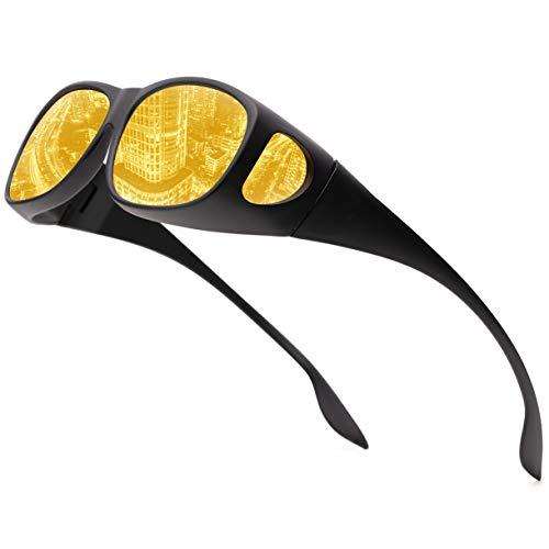 FEIDU Halbrahmen Polarisierte Klassische Metall Sonnenbrillen Herren-Retro Polarisierte Sonnenbrille Damen FD 3031 (Gelb, 2.04)