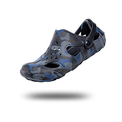 Zuecos Hombre Sanitarios Playa Piscina Verano Sandalias Chanclas Zapatillas de Casa Trabajo Enfermera Zapatos Goma Cocina Ducha Cerrados Camuflaje y Negro-3 44 EU