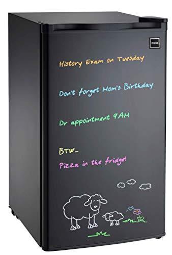 RCA 3.2 cu. ft Fridge, Black Erase Board Refrigerator with Neon Markers