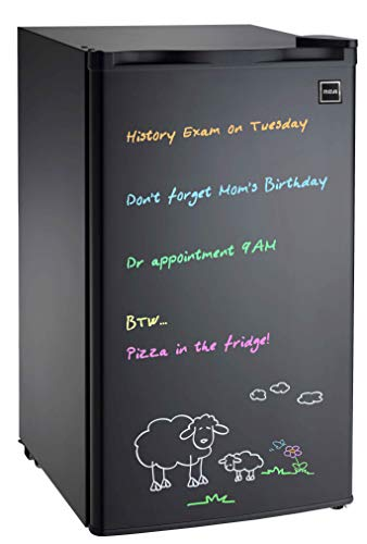 RCA 3.2 cu. ft Fridge, Black Erase Board Refrigerator with Neon Markers