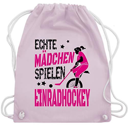 Sonstige Sportarten - Echte Mädchen spielen Einradhockey - fuchsia/schwarz - Unisize - Pastell Rosa - Geschenk - WM110 - Turnbeutel und Stoffbeutel aus Baumwolle