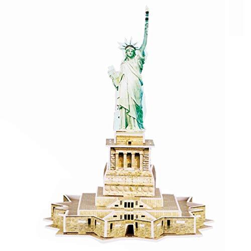 Rompecabezas estéreo 3D Mini-Mundo Modelo arquitectónico Rompecabezas Rompecabezas de Papel para niños Notre Dame en París (Estatua de la Libertad Multicolor)