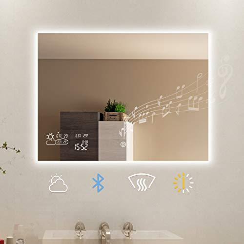 BYECOLD Smart Bathroom Mirror with Bluetooth Touch Switch Weather Forecast LED Light Defogging Makeup Wall Mirror with Calendar Time Date Temperature Humidity Display-Horizontal 31.5''x23.6''