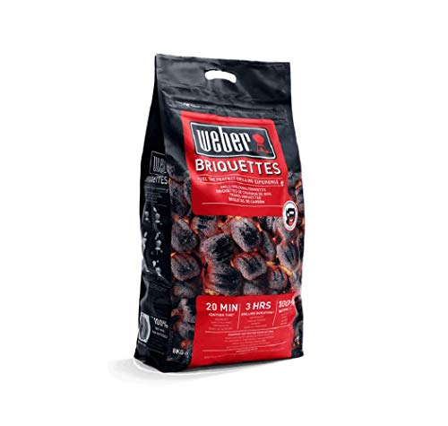 Weber Barbecue Charcoal Briquettes 8kg - Fuel The Perfect BBQ Grill Experience - Perfect for Outdoor Roasting, Baking & Grilling - Easy to Fire Start