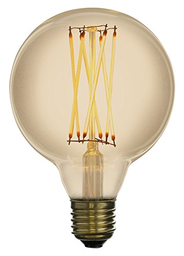 Led Zen LZG2041A Ampoule décorative LED à filament G95 E27 4W finition ambrée diamètre 95 mm dimmable, Verre, 4 W