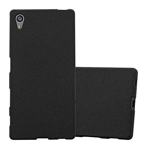 Cadorabo Funda para Sony Xperia Z5 en Frost Negro - Cubierta Proteccíon de Silicona TPU Delgada e Flexible con Antichoque - Gel Case Cover Carcasa Ligera