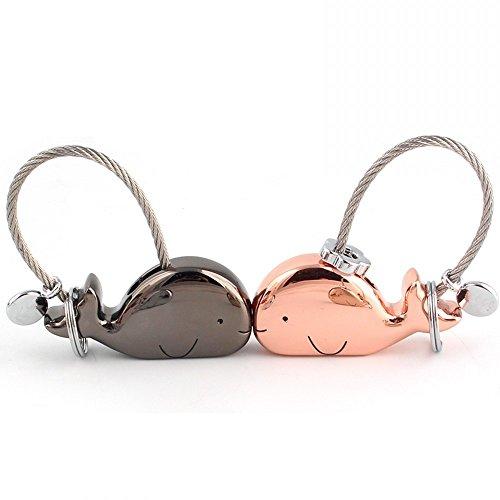 Joykey Portachiavi Amante 1 Pair balena Forma Portachiavi con Bocca Magnetica, regalo per Coppia Fidanzata, Lega di zinco,Nero lucido e oro rosa