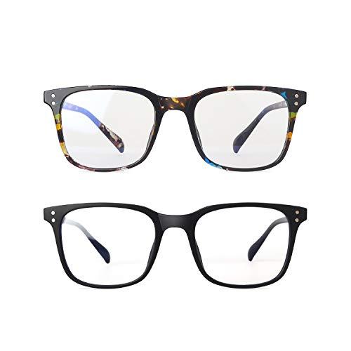 XOJUE Blue Light Blocking Glasses for Men Women, Anti Blue Light Computer Gaming Glasses, Anti Eye Strain Headache (Sleep Better), UV400 Transparent Lens(Matte Black + Blue Floral)