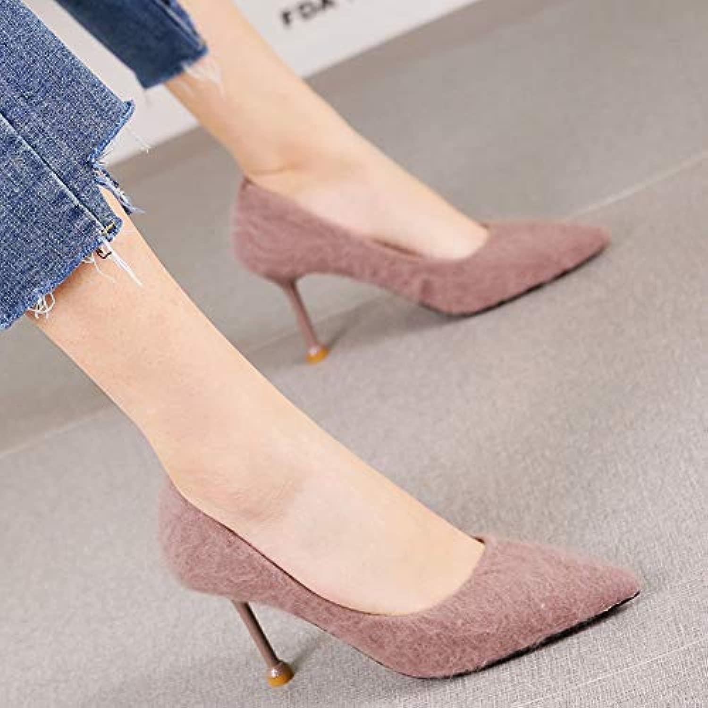 HRCxue Pumps Temperament Elegante einzelne Schuhe Mode Mode Bohne Sand Farbe Spitze Stiletto High Heels Frauen, 39, Bohne Farbe  hoher Rabatt