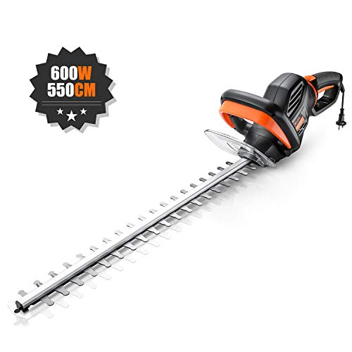 TACKLIFE Hedge Trimmer, Electric Hedge Trimmer, 600W, Rotating Rear Handle, 550mm Blade Length, 20mm Cutting Gap, Corded Hedge Trimmer, with Blade Cover & 10m Power Cable - GHT5A