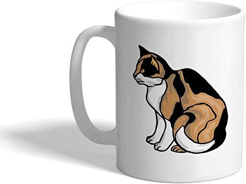 Taza de café de cerámica Calico Cat C Taza de té blanca, 11 oz