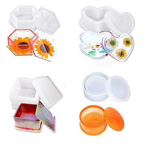 Moldes de resina de caja, Moldes de joyero con molde de resina de silicona en forma de corazón, Molde de caja de almacenamiento hexagonal y Moldes de epoxi cuadrados redondos Conjunto de 8 piezas