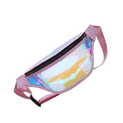 Mujeres Moda Holograma Cintura Bolsa Niñas Transparente Brillante Pack Cremallera Rosa