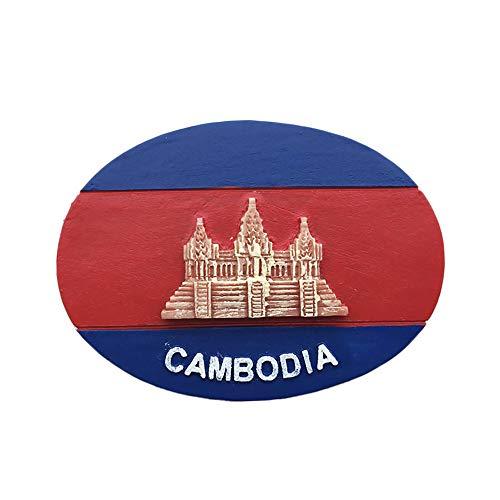 3D kambodscha Flagge kühlschrankmagnet Tourist Reise Souvenirs handgemachte Harz Handwerk magnetische Aufkleber Home küche Dekoration kühlschrankmagnet Sammlung Geschenk