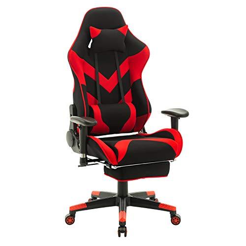 WOLTU® Racing Stuhl BS48rt Gaming Stuhl Bürostuhl Schreibtischstuhl Sportsitz mit Kopfstütze und Lendenkissen, Armlehne verstellbar, mit Fußstütze, Stoffbezug, höhenverstellbar, Rot