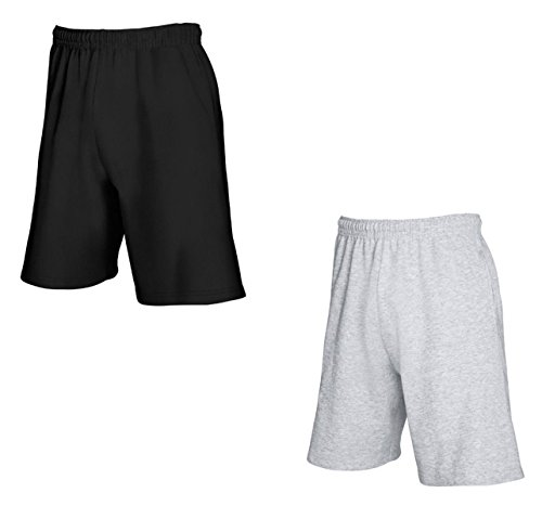 2er-Pack Fruit of The Loom Herren Kurze Sporthosen Jogginghosen Lightweight Shorts (M, Schwarz & Grau)